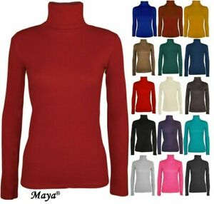 WOMENS LADIES POLO NECK TURTLE ROLL HIGH NECK JUMPER PARTY TOPS SIZE 8-24