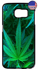 Marijuana Weed Plant Rubber Case PU Cover For Samsung Galaxy S8 Plus S7 Edge S6
