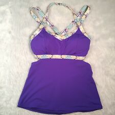 CALIA by Carrie Underwood Size M Tankini Purple Bikini Top Swim Medium C13