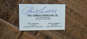 PAUL LINDBLAD SIGNED BUSINESS CARD A'S ATHLETICS YANKEES RANGERS SENATORS CUBS