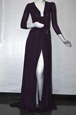 $2595 NEW GUCCI MAXI  Rib Jersey DRESS WITH BELT 3/4 SLEEVE DARK PURPLE Gown  40