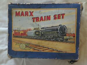 LOUIS MARX GB TIN TOY WIND UP TRAIN SET EXCELLENT CONDITION c1950 BOX ONLY FAIR