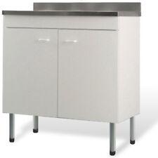 Nuovo mobile sottolavello cucina bianco 2 vasche 80x50 + lavello aciciaio inox