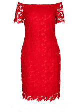 RED off the shoulder short sleeve floral LACE over lined PARTY dress size 18 NEW