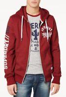 Superdry Men's Red Hook Grit Trackster Logo Print Full Zip Hoodie