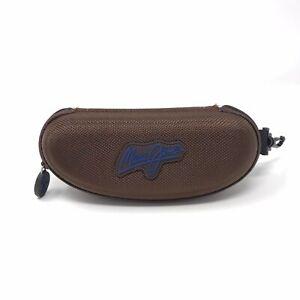 "Maui Jim Sunglasses Case Brown Zip Closure Lined 6.5"" x 2.5"" Zippered"