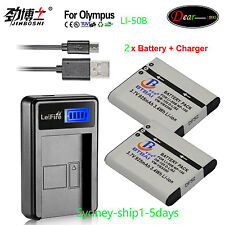 Li-50B Li50B Battery+Charger for Olympus Tough TG-610 TG-620 TG-810 XZ-10 SH-21