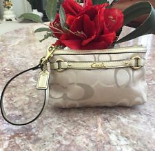 "Coach 48299 Gallery Signature Medium Wristlet Beige Gold 7"" x 5"" iPhone 6 EUC!"