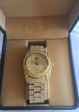 Adee Kaye Men's 18KT Gold Plated Bling Watch Beverly Hills Japan Movement w/Box
