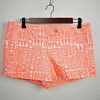 "J.CREW Women's 10 - Coral orange & white geometric shorts - Short 3"" Inseam"