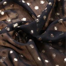 2 yds polka dots chiffon fabric black gold stamping pearl chiffon material