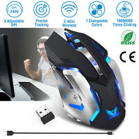 2400 DPI 2.4G Wireless Optical Gaming Mouse Mice 7 Colors USB Cordless For PC