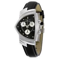 Hamilton Ventura Chrono Black Dial  Black Strap Mens Watch H24412732