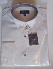"""NEW Mens white wing dress shirt 16½""""T-ribbed front-black stud button-double cuff"""