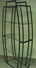 Tipton Contemporary 5 Glass Shelf Metal And Glass Etagere-Black Nickel Finish