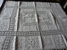NAPPE BLANCHE ANCIENNE BRODEE MAIN - 101 x 88 cm