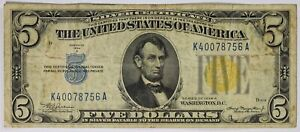 FR. 2307 1934 A $5 North Africa WWII Emergency Silver Certificate Yellow Seal