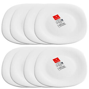 8 Bormioli Rocco Parma 27cm Tempered Opal Glass Dinner Plates Rounded Square