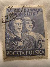 Poland Stamp 1950 Scott 480 A166  Six Years Plan 15 Zt Blue