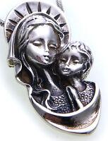Neu Anhänger XXL Madonna echt Silber 925 Maria mit Jesus Sterlingsilber Unisex
