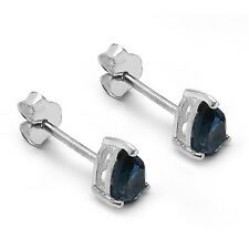 Neu Ohrstecker 925 Silber Handgefertigt 0,90Ct London blau Topas Topaz blue #22