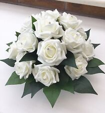 Artificial Ivory Roses Wedding Flowers Glass Centrepiece Table Arrangement