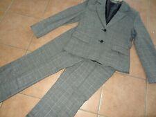 Damen Hosenanzug UPPER CLASS M 38 40 42 kariert Lurex Blazer Hose grau schwarz