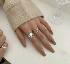 Damen, Ring, 925er Silber, Ringe, Set, Ring Set, Herz, Panzerkette, Verstellbar