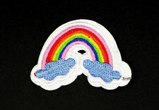 RAINBOW CLOUD PATCH, RAINBOW OVER CLOUDS APPLIQUE, EMBROIDERD RAINBOW (SRR-362)