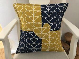 "Designer Orla Kiely Ochre & Navy Applique Heart Cushion 17"". - Beautiful Gift!"