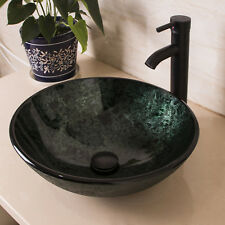 Artistic Tempered Glass Vessel Sink Bathroom Bowl W/ Oil Rubbed Bronze Faucet