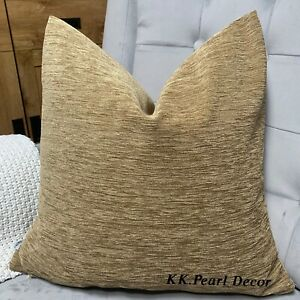 "Cushion Cover 18"" Designer Fabric & Brown Beige Decor Handmade"