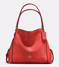 Coach Edie 31 In Pebble Leather Deep Coral/Light Gold 350 NWT