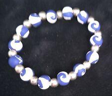 Viva Beads Handcrafted Clay Beads Purple Swirl Stretch Bracelet