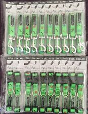 WHOLESALE LOT OF 20 DOG LEASHES AND COLLARS SIZE TOY (10 of each GREEN W SYMBOLS