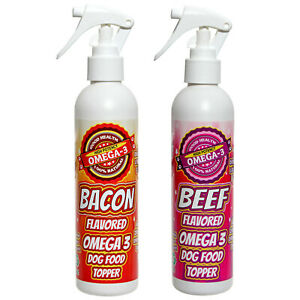 All Natural Dog Food Flavor Enhancer Bacon 8 oz and Beef 8 oz