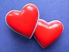 BUY1&GET1@50%~Gibson PIN Valentines❤️ HEARTS Double BLUE PINK Vtg Holiday Brooch