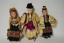 Lot of 3 Vintage Hungary Dolls in Traditional Hungarian  Folk Costumes