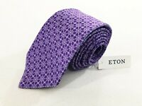 NWT Eton Mens 100% Silk Luxury Tie Necktie Made in Italy Floral Purple 3""