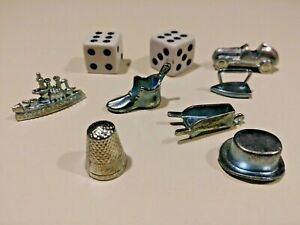 Monopoly Replacement Pieces - 7 Metal Tokens And 2 Dice