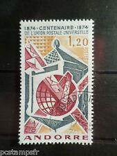 ANDORRE FRANCAISE, 1974, timbre 242, CENTENAIRE UPU, oblitéré, VF STAMP