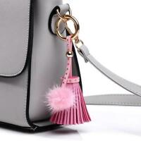 Mink Fur Handbag Ball Charm PU Leather Tassel Key Chain Fur Bag Accessory Gift