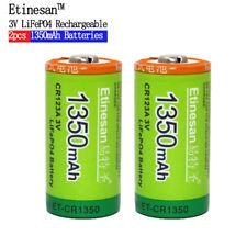 Etinesan 2pcs Cr123a 3v  Li-ion Li-polymer 1350mAh Rechargeable Battery
