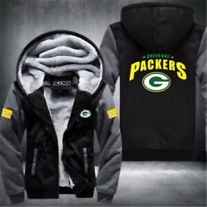Men Women Football Green Bay Packers Zipper Jacket Thicken Hoodie Coat Clothing