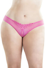 Crotchless Thong w/ Pearls And Venise Detail Pink 3X/4X