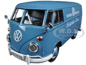 VOLKSWAGEN TYPE 2 (T1) DELIVERY TRUCK PORSCHE WAGEN BLUE 1:24 BY MOTORMAX 79556