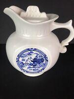 Vintage McCoy Pitcher Off White Blue Oriental Scene Lid Ceramic Pottery Pot