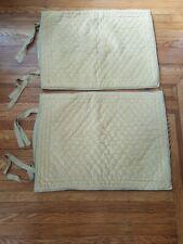 Pottery Barn 2 Standard Pillow Shams Yellow Velvet Silk tie Closure
