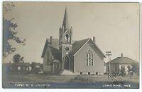 RPPC First Methodist Church LONG PINE NE Vintage Nebraska Real Photo Postcard