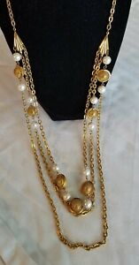 Long Vintage Necklace. 3 Strand Chain. Gold Tone Spheres And Faux Pearl Beads